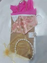 Kit De Presentes - Dia Das Mães Mascaras + brincos+ tiara