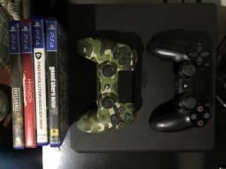 PlayStation 4 Slim 1TB 2 controles 4 jogos