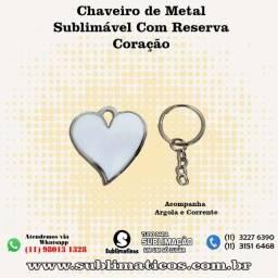 05 Chaveiros Metal Coração Com Reserva Sublimação