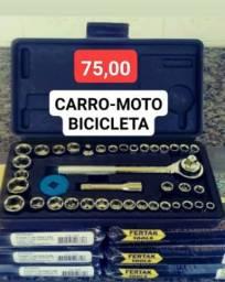 ( Carro-Moto-Bicicleta ) Jogo de 36 Soquetes c/ Chave Catraca Reversível em Aço