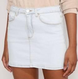 Saia Jeans curta clara