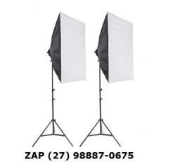 2 soft box com tripé soquete 50x70 Cm luz continua