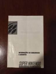 Manual garantia Super Nintendo folheto livro