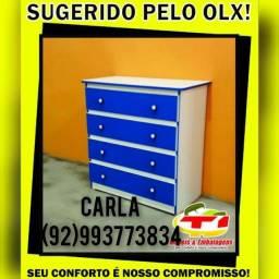 Cômoda 4 gavetas azul