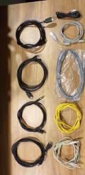 Kit 4 Cabos HDMI + 3 Cabos de rede + 1 Cabos impressora + 2 USB