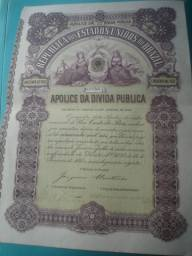 Antiguidades títulos da dívida pública 1902, certificados, moedas, cédulas