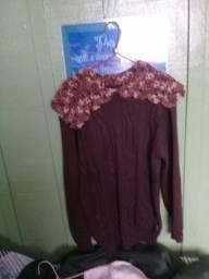 blusa de lá com gola de crochê tamanho G semi novo