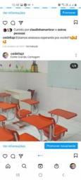 Cadeiras escolares marca desk laranja em excelente estado de conservação