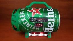 Caixa de som Barril Heineken Bluetooth, USB, Pendrive, Bateria 22h de Duração.