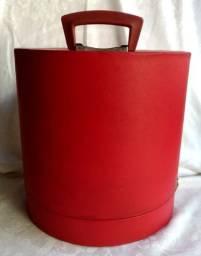 Antiga Caixa De Chapéus Anos 60 Vermelha Alta Para Cartolas
