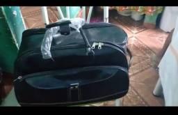 Bolsa mala de rodinha para viagem em couro