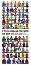 """Kit com 3 Bonecos Super Heróis """"Marvel, Avengers, Teen Titans, DC Comics e Outros"""""""