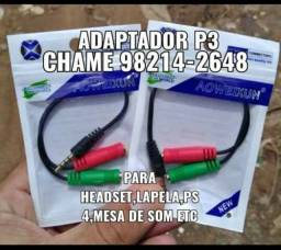 Adaptador p3 para headset,lapela,ps4 etc