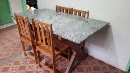 Mesa granito / 4 Cadeiras Madeira