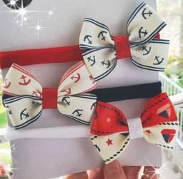 Kit 3 faixas slim marinheiro para 0 a 4 anos tiaras bico de pato xuxinhas elástico