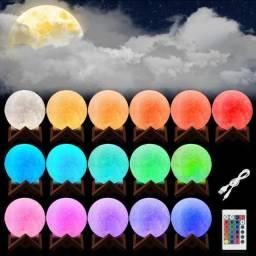 Luminária Lua Cheia 3D Troca de Cor - Lindas Cores Tornando um Ambiente Muito Especial!