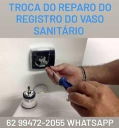 Troca do Reparo do Registro do vaso sanitário