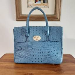 Presente de Dia das Mães! Linda Bolsa de Couro Estilo Executiva Azul!