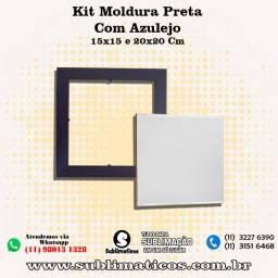 Kit Quadro Moldura Preta com Azulejo 15x15 Cm