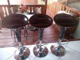 3 banquetas giratórias com regulagem 380 reais