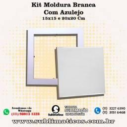 Kit Quadro Moldura Branca com Azulejo 15x15 cm