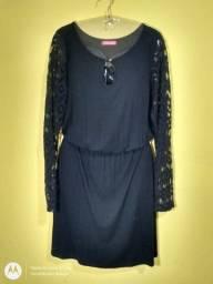 Vestido Preto de algodão Tam G