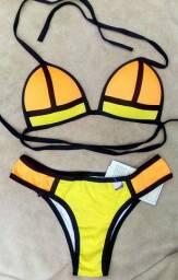 Biquíni 3D laranja e amarelo