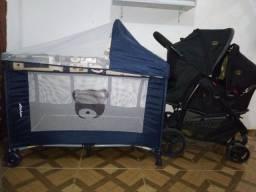 Berço cercado e carrinho com bebê conforto