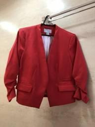 Blazer vermelho forro branco H&M