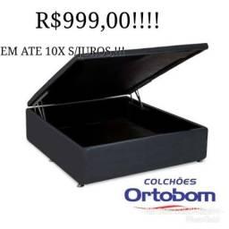 Entrega grátis!!!box bau ortobom casal black!!!!