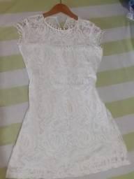 Vestido curto Branco rendado