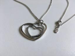 Colar Pandora com Pingente Coração Duo Heart com Pedraria