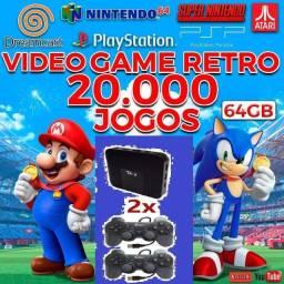 Game retrô box com 20 mil jogos e 2 controles sem fio