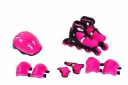 Patins Roller Radical Ajustável Rosa ou azul+ Kit Proteção TAM 29 AO 40