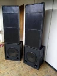 Kit som profissional com 04 caixas + Amplificador Behringer Europower EP 2500