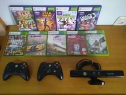 Xbox 360 slim 4GB + 2 controles originais + kinect + 9 jogos originais