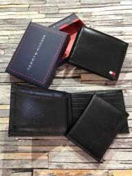 Carteira Couro preta + Porta Cartão modelo Executive