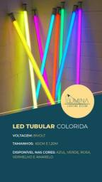 Lâmpada LED - Neon (colorida) - Tubular T8 - 1.20cm