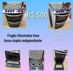 Fogão Inox Electrolux 4 bocas e forno duplo independente