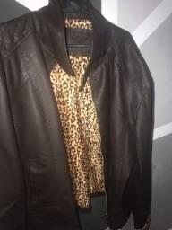 Jaqueta de couro cor café