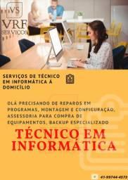 Serviços De Técnico Em Informática Á Domicilio e/ou Pela Internet(Nota fiscal/Garantia)
