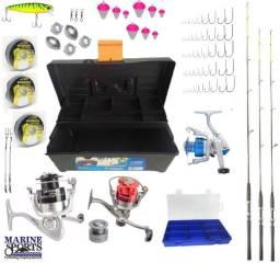 Kit de pesca com 3 molinetes e 3 varas (marine sports)