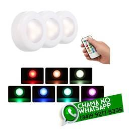 Kit 3 Luminária Luz Led c/ Controle * Fazemos Entregas
