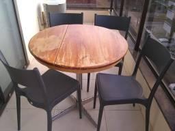 Mesa em madeira / pés inox + 4 cadeiras tramontina inclusas