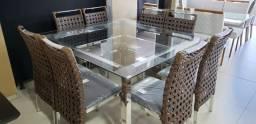 Mesa de Aluminio com 8 cadeiras em 12x Sem Juros no Cartão