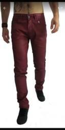 Calça jeans encerada vinho
