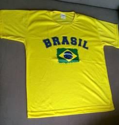 Camisetas do Brasil amarela adulto e infantil