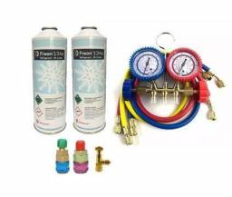 Kit manifold ar condicionado automotivo r134+ engate + 2 latad de gás r134a