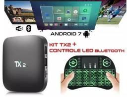 Kit Tv Box TX2 2gb RAM 16gb ROM Bluetooth com Teclado sem fio