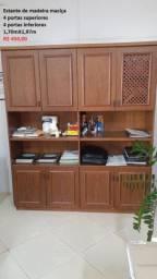 Estante de madeira maciça + Mesa de madeira maciça